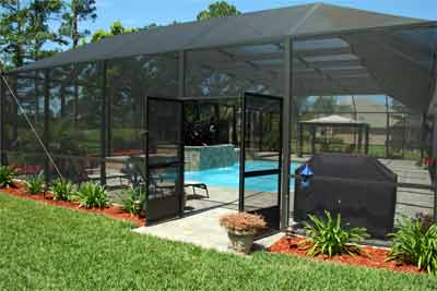 Screened pool enclosures iron workers wood fence for Abri patio club piscine